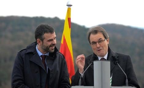 Vila y Mas en la inauguración del Eix Transversal, el viernes.