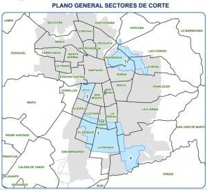 Comunas que están afectadas por el corte de agua