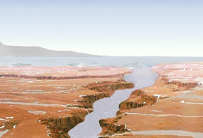 Recreación artística de un antiguo mar en Marte, así como un río desembocando en él. (Imagen: NASA)