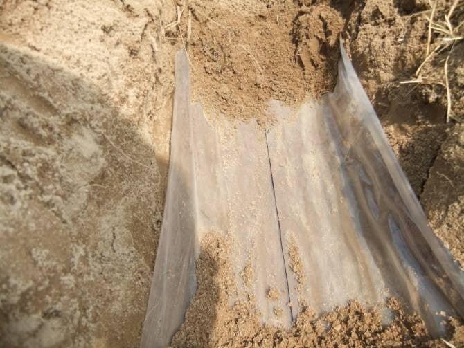 Membrana enterrada en un campo de cultivo.