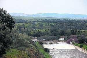 El agua corre muros abajo de la presa. Al fondo, la ciudad.