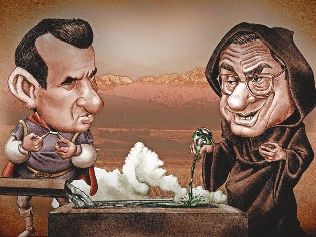 """Metidos en un juego peligroso. El gobernador """"Paco"""" Pérez y el asesor Juan Carlos Mazzón. Dibujo: Diego Juri / Diario UNO."""