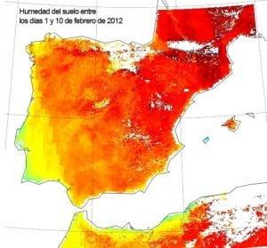 La sequía en la Península en febrero de 2012. Los colores más cálidos indican menor humedad del terreno. Imagen: CSIC