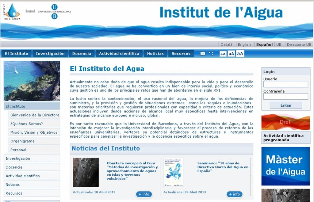 Web recomendada instituto del agua univer de barcelona for Web del barsa