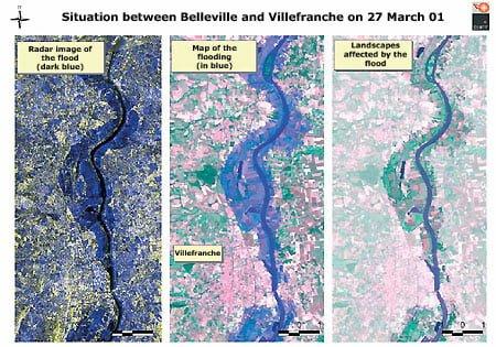 Inundaciones en el valle del río Saône (Francia) en 2001: a la izquierda, la crecida de los ríos; en el centro, la inundación y a la derecha, las tierras afectadas por las aguas. ©ESA