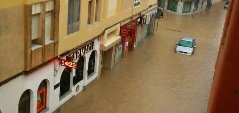 Calle inundada en Balerma