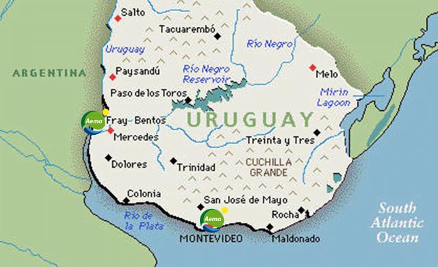 Mapa de situación obras de AEMA en Uruguay